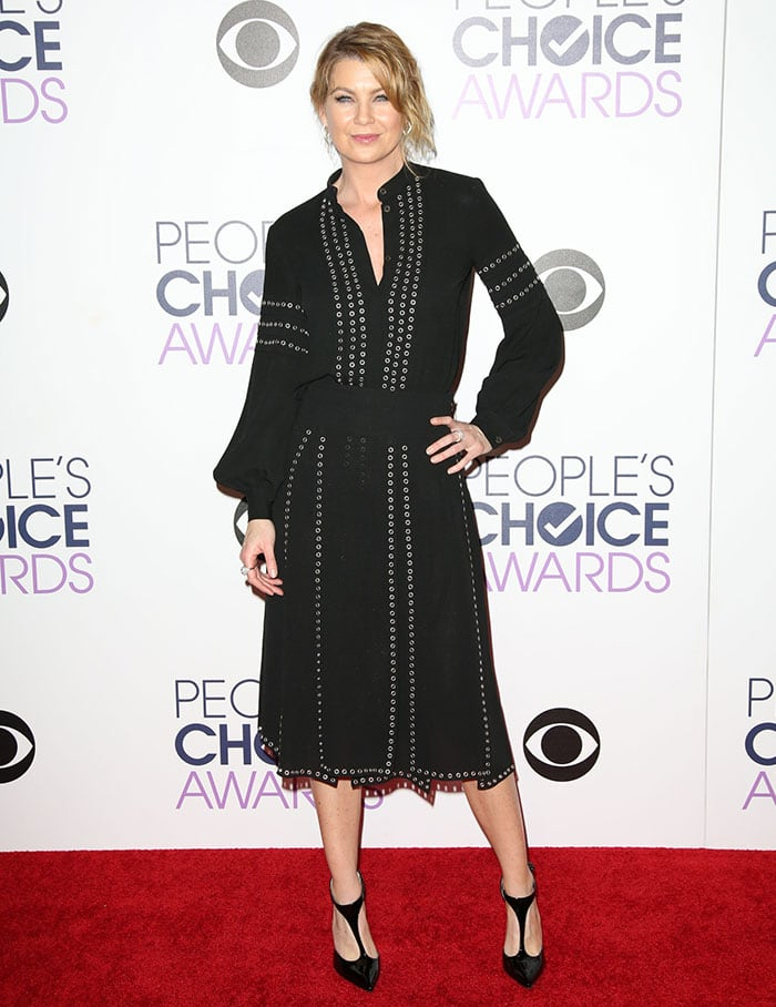 Ellen Pompeo's grommet-embellished button-down top and matching skirt