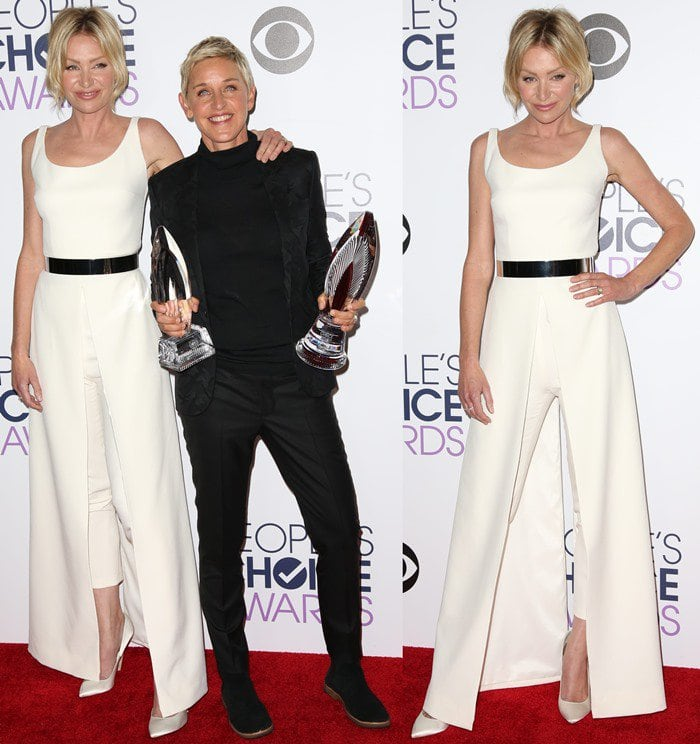 Portia de Rossi and Ellen DeGeneres wear contrasting black-and-white ensembles on the red carpet of the People's Choice Awards