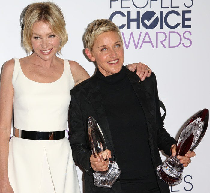 Portia de Rossi and Ellen DeGeneres attend the 2016 People's Choice Awards held January 6 in Los Angeles