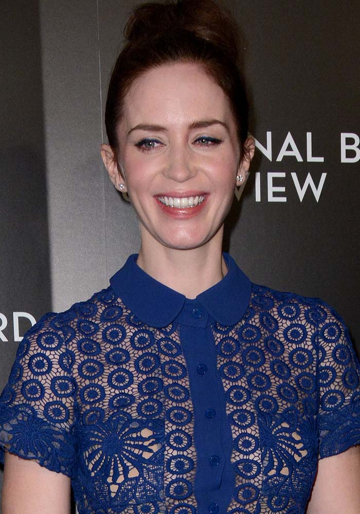 Emily Blunt wears her hair up at the 2015 National Board Of Review Gala