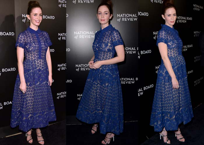 """Emily Blunt, who measures 5' 7"""" (170 cm) without heels, wears a vibrant blue two-piece Elie Saab dress"""