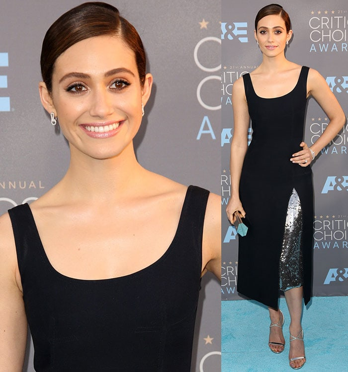 Emmy Rossum shows off the sequined inset of her Dior gown