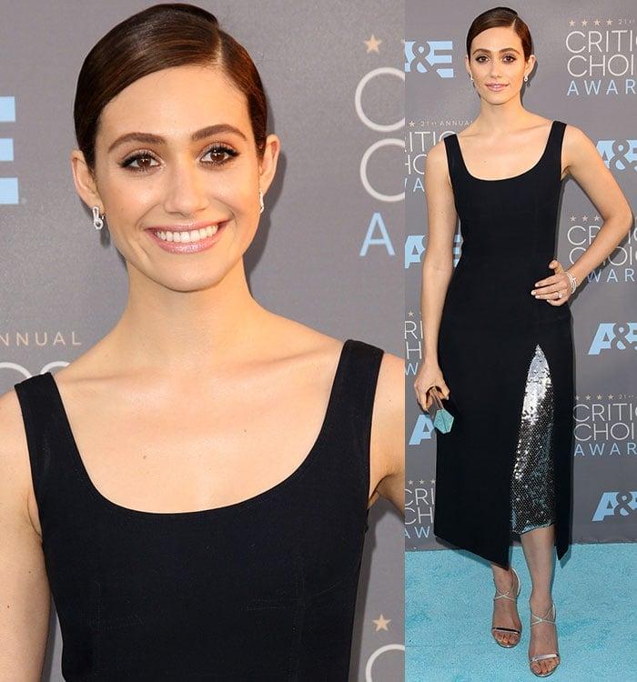 Emmy-Rossum-Dior-black-dress-sequin-inset