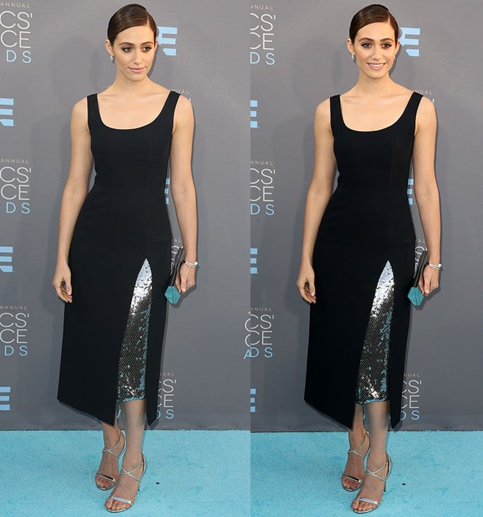 Emmy Rossum sparkles in a Dior dress at the Critics' Choice Awards