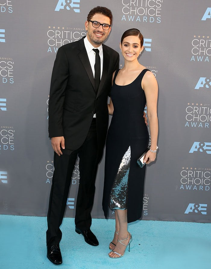 Emmy Rossum and Sam Esmail pose for photos at the Annual Critics' Choice Awards