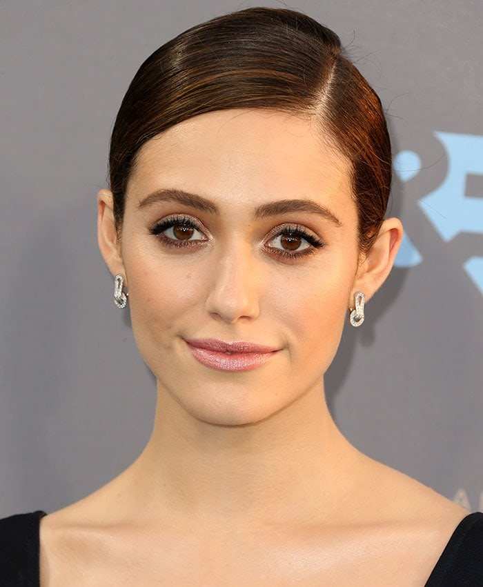 Emmy Rossum wears her hair back at the 21st Annual Critics' Choice Awards