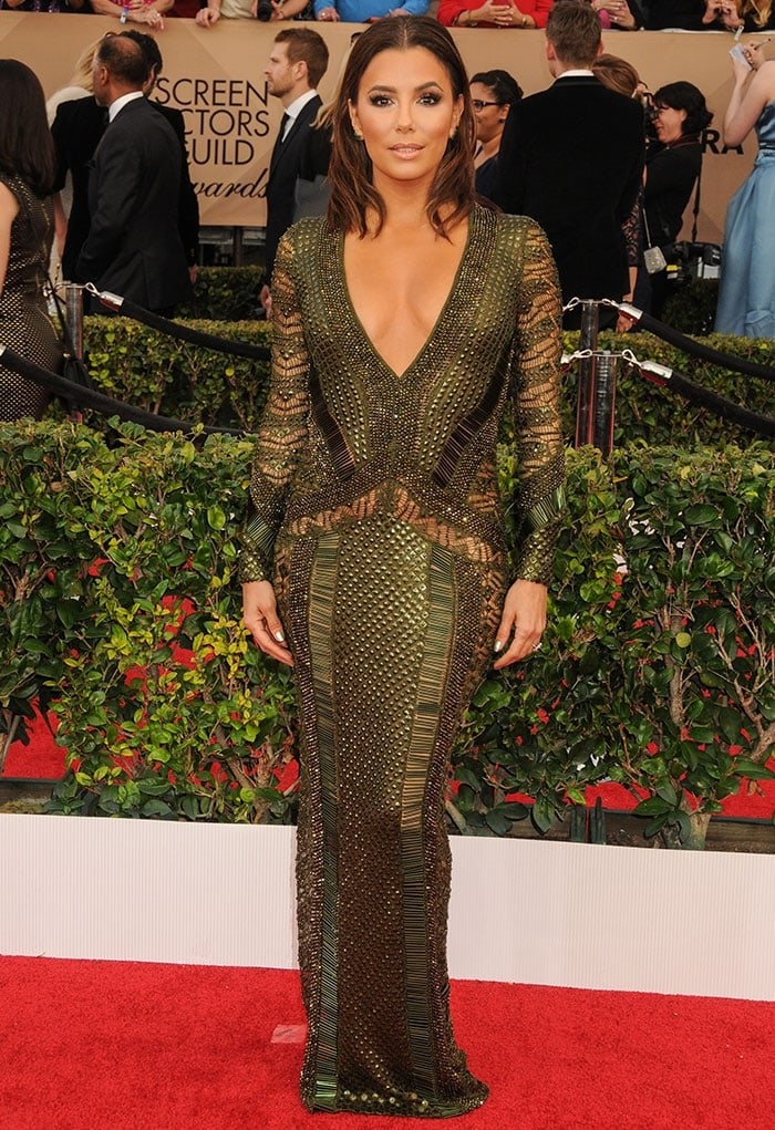 Eva Longoria stuns on the red carpet in a heavily-embellished Julien Macdonald gown
