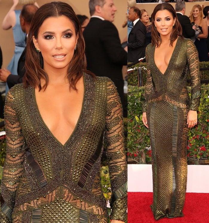 Eva-Longoria-Julien-Macdonald-olive-mesh-embellished-gown