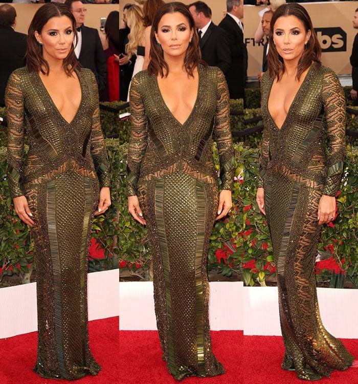Eva-Longoria-plunging-embellished-mesh-gown-SAG