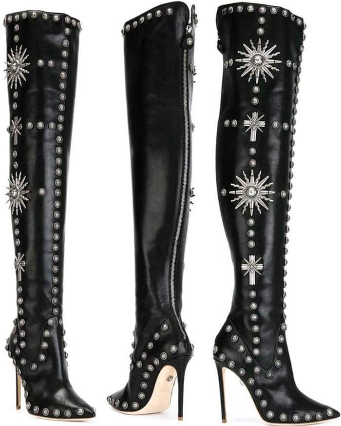 Fausto Puglisi Over-the-Knee Studded Boots