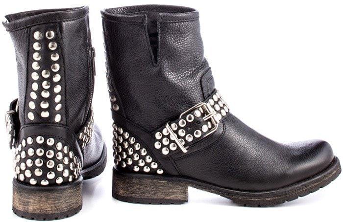 Steve Madden 'Fraankie' Black Studded Ankle Boots