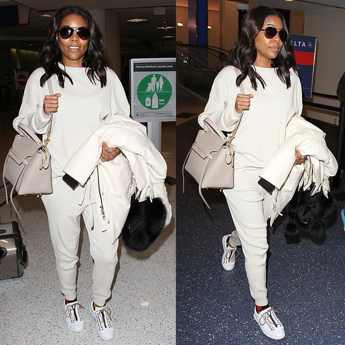 Gabrielle Union wears all-white from head to toe