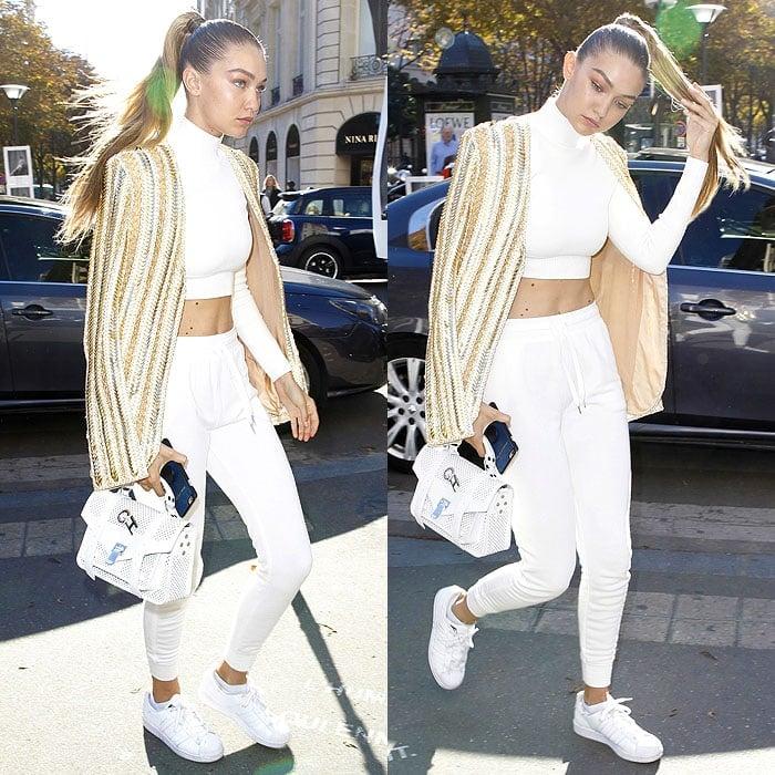 Gigi Hadid Balmain white sneakers