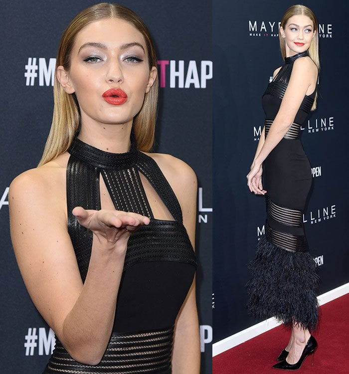 Gigi-Hadid-Sally-Lapointe-halter-leather-ostrich-feather-dress