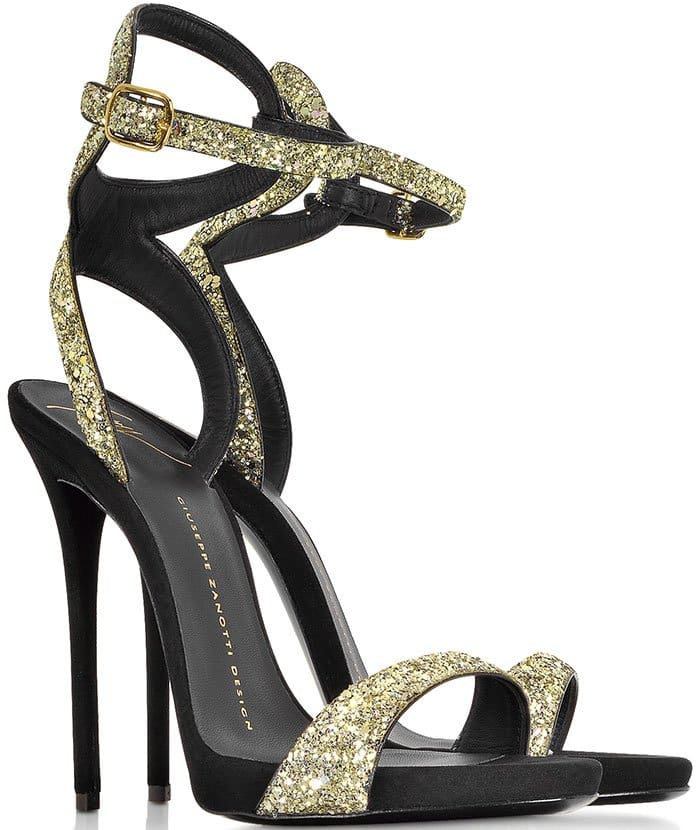 "Gold Giuseppe Zanotti ""Gwyneth"" Glitter Sandals"