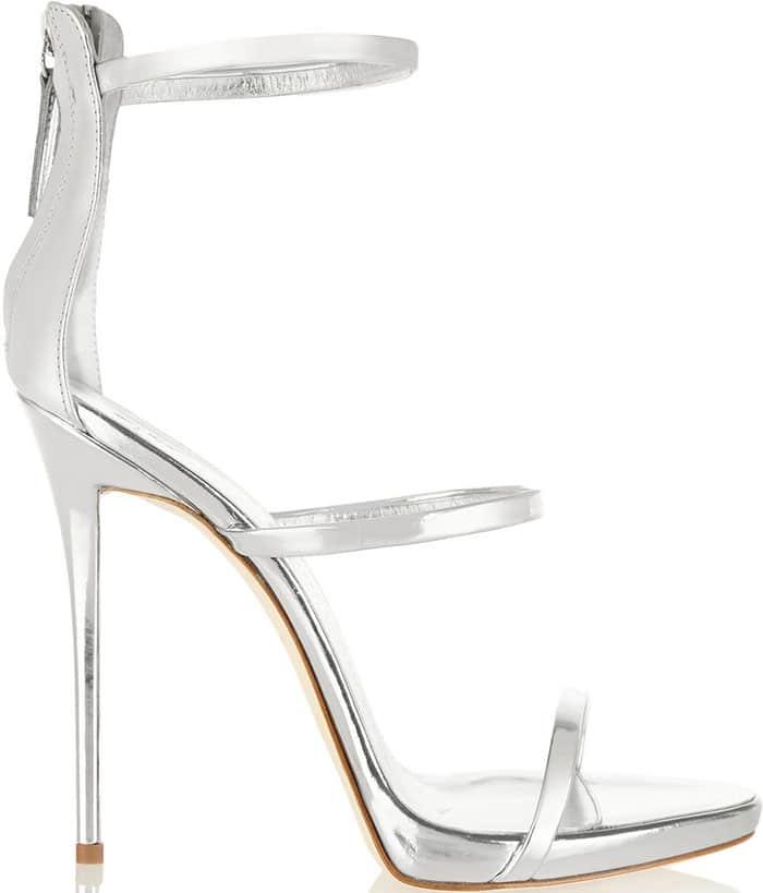 Giuseppe Zanotti Metallic Silver Three Strap Sandals