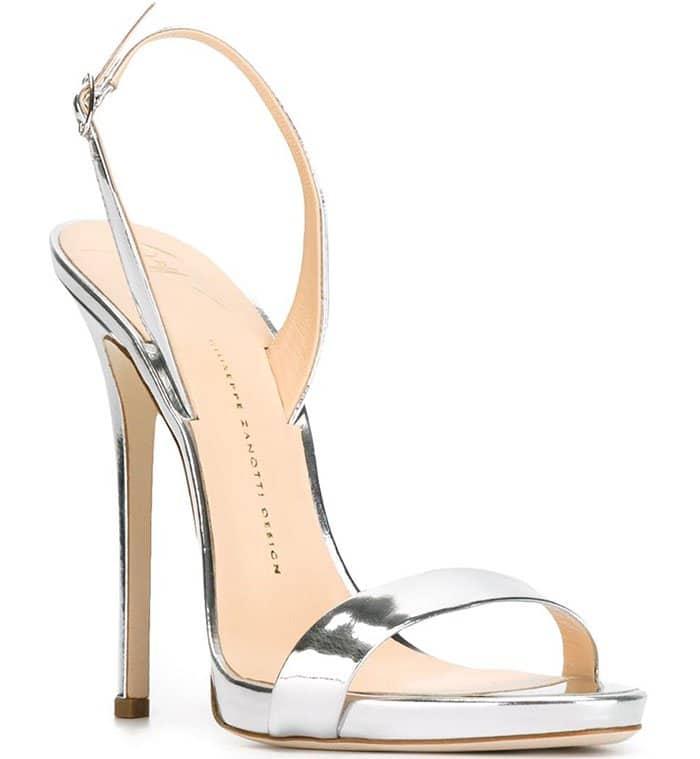 Silver Metallic Giuseppe Zanotti Sophie Slingback Sandals