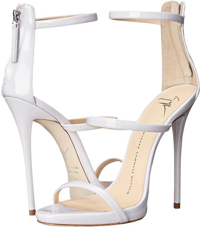 Giuseppe Zanotti White Three Strap Sandals