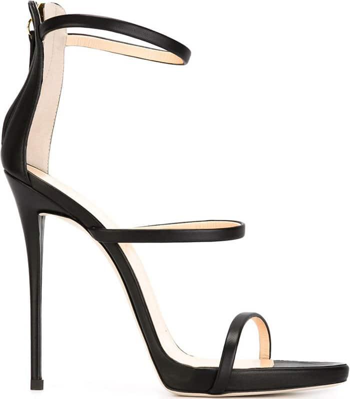 Giuseppe Zanotti Black Three Strap Sandals
