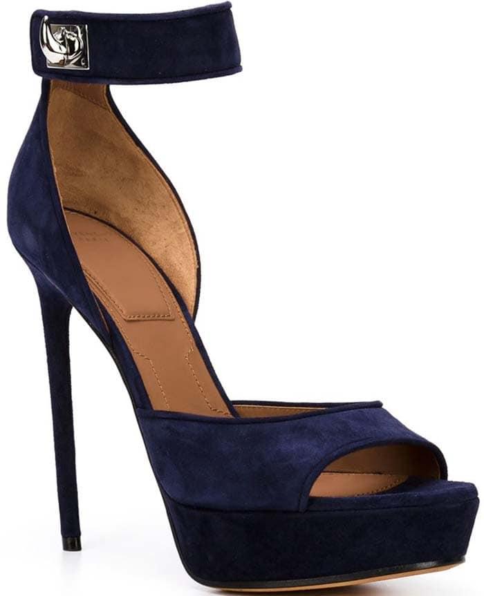 """Givenchy Suede """"Shark-Lock"""" Platform Sandals in Blue"""