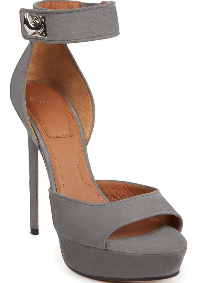 "Givenchy Suede ""Shark-Lock"" Platform Sandals in Grey"