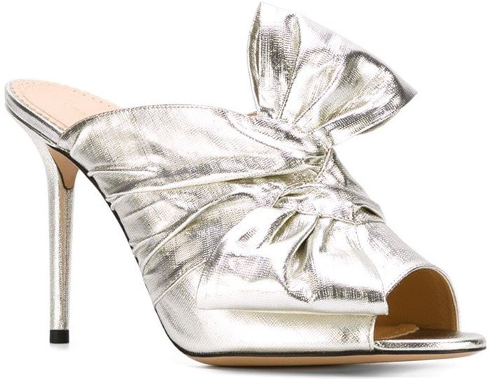 These metallic 'Ilona' mules are decorated with a twisted bow detail