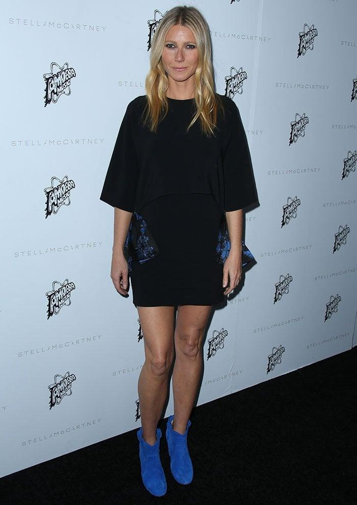 Gwyneth Paltrow wears a black Stella McCartney batwing dress on the black carpet