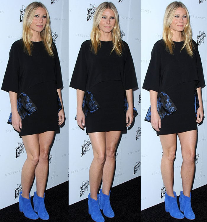 Gwyneth Paltrow pairs a Stella McCartney dress with blue Laurence Dacade booties