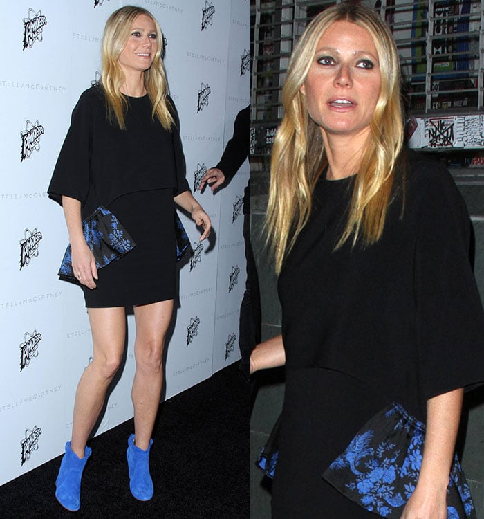 Gwyneth Paltrow shows off the blue detailing on her Stella McCartney dress