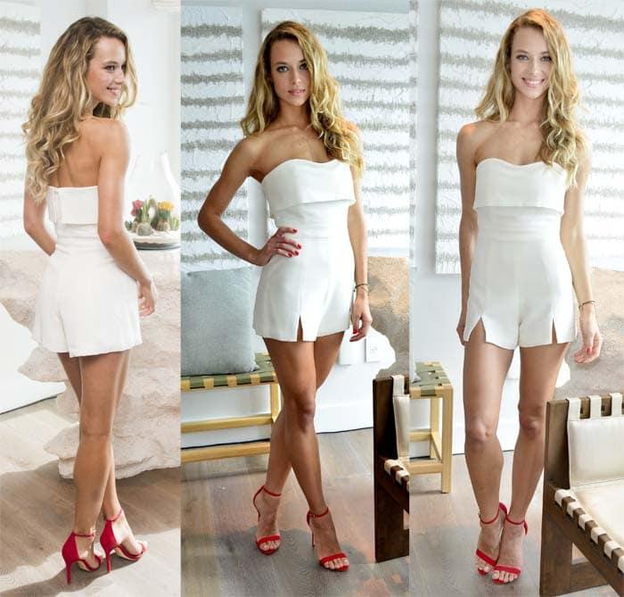 "Hannah Ferguson flaunts her legs in a white jumpsuit and Schutz ""Cadey Lee"" sandals"
