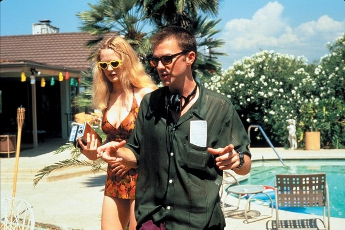 American film director Paul Thomas Anderson and Heather Graham on the set of Boogie Nights