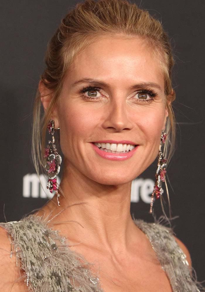 Heidi Klum wears her hair back at the Golden Globes and the Weinstein Company and Netflix 2016 After Party
