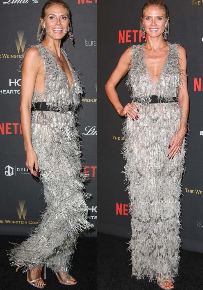Heidi Klum keeps things fun in a fringe-covered Marchesa dress