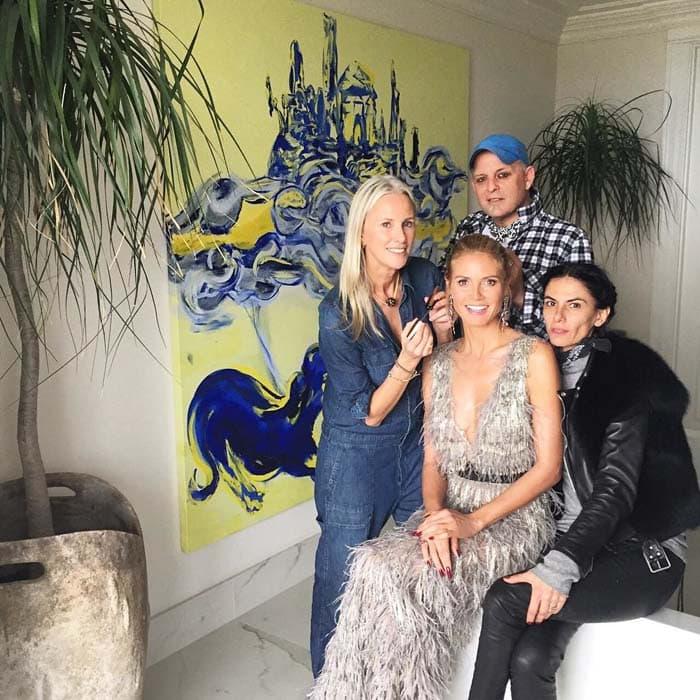Heidi Klum thanks her glam team for the Golden Globes on her Instagram