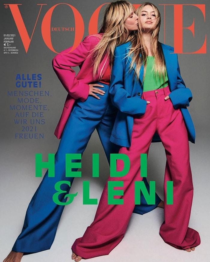 """Helene """"Leni"""" Boshoven Samuel made her modeling debut alongside her mom Heidi Klum on the cover of Vogue Germany, January/February 2021"""
