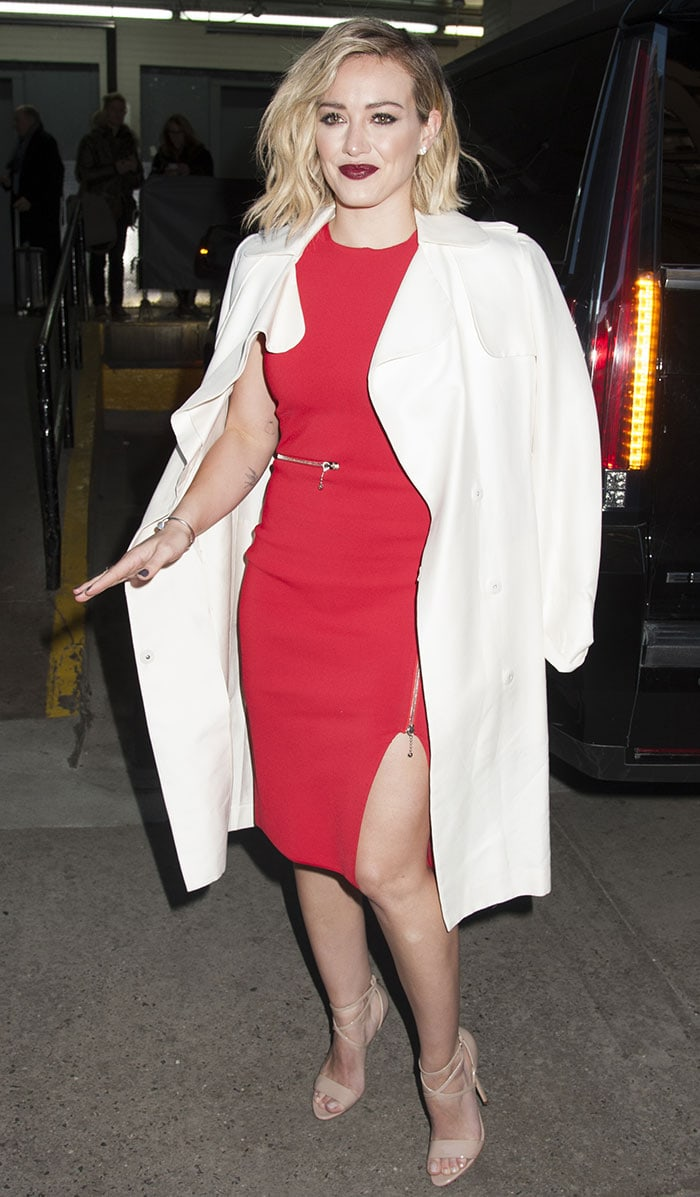 Hilary Duff stuns in a fitted red dress from Alexander Wang