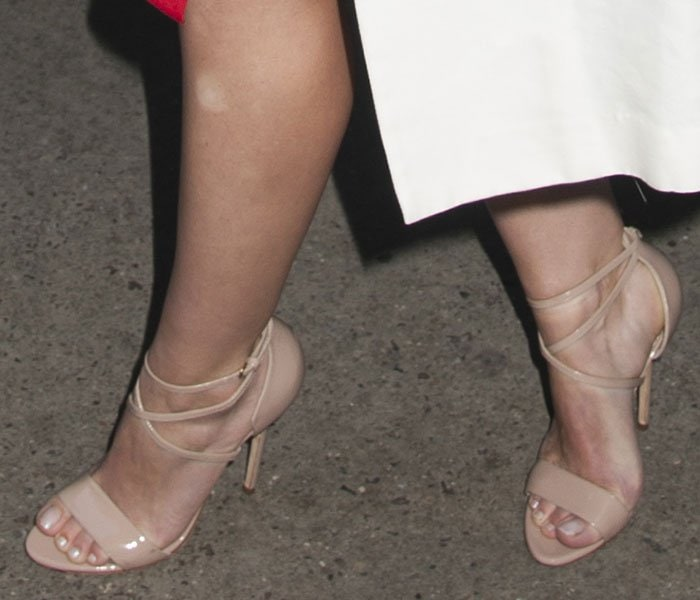 Hilary Duff's feet in nude Brian Atwood sandals