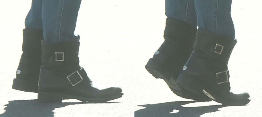 Isla Fisher rocks buckled combat boots