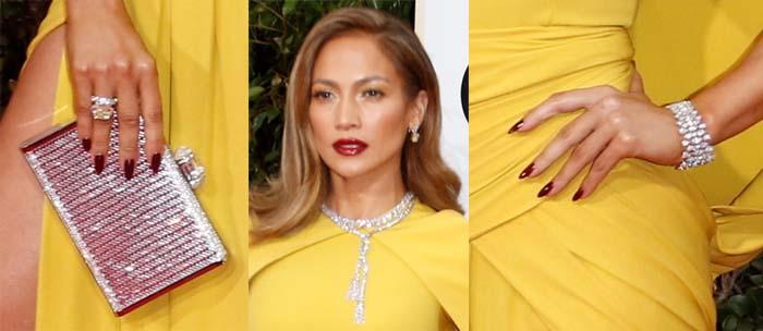 Jennifer Lopez carries a sparkling clutch and wears dozens of Harry Winston jewels