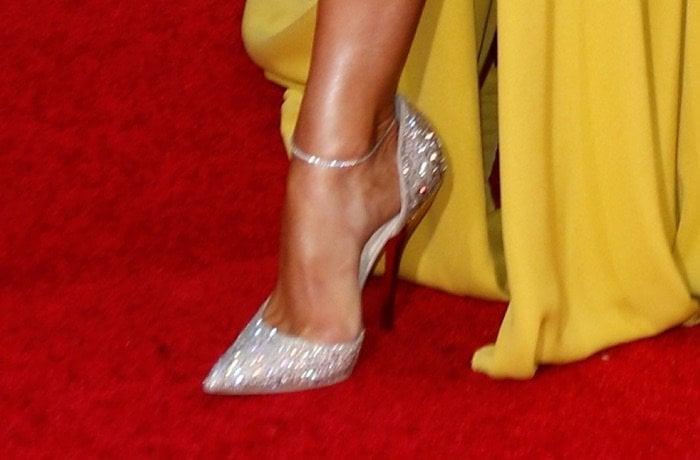 Jennifer Lopez's feet in sparkling Jimmy Choo heels