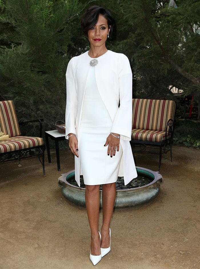 Jada Pinkett Smith wears an all-white Dior look