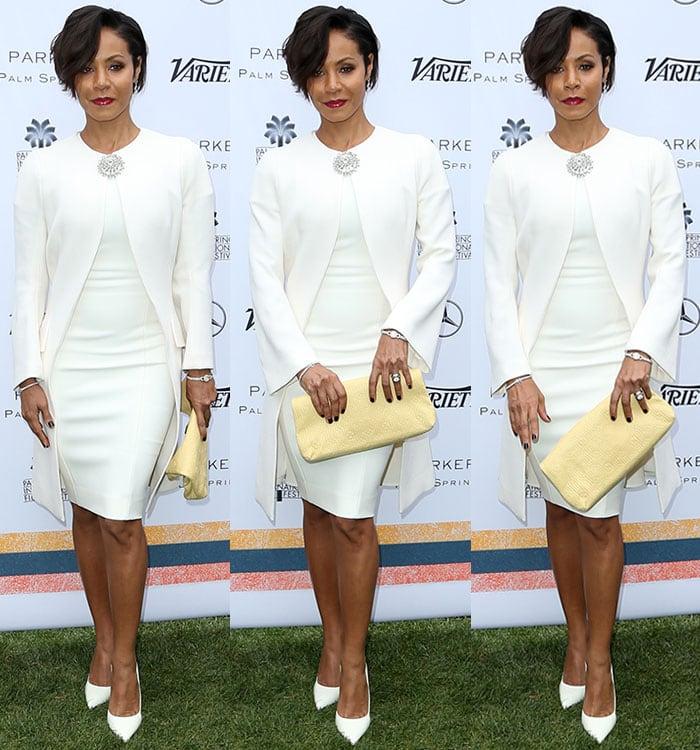 Jada Pinkett Smith wears a Dior dress with white pumps