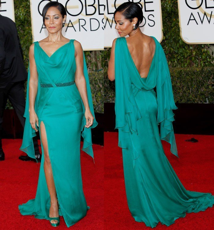 Jada Pinkett Smith matches her green Atelier Versace gown to a pair of emerald satin Jimmy Choo sandals