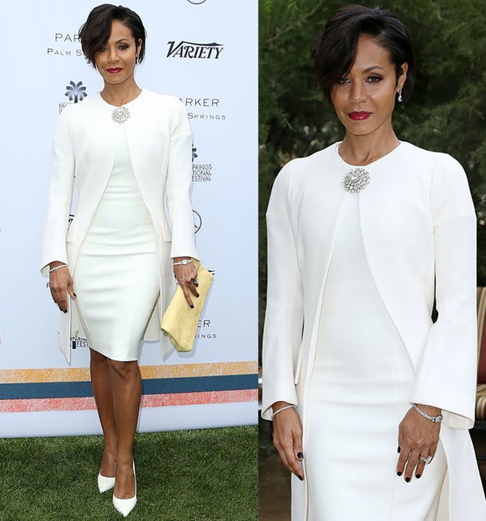 Jada Pinkett Smith finishes her white Dior ensemble with a silver brooch