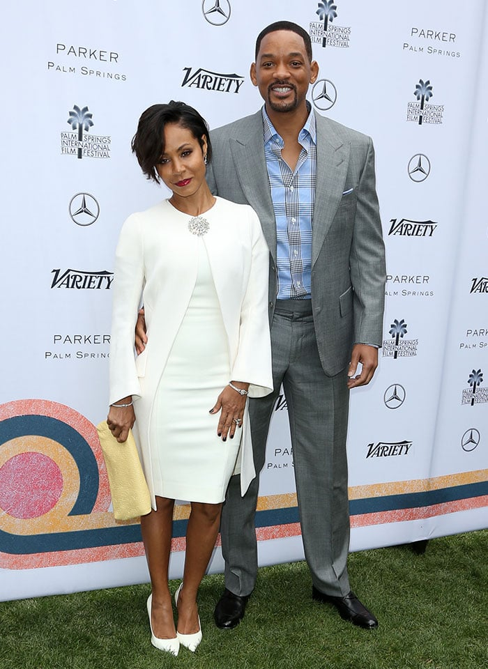 Jada Pinkett Smith and Will Smith pose for photos together shortly after their wedding anniversary