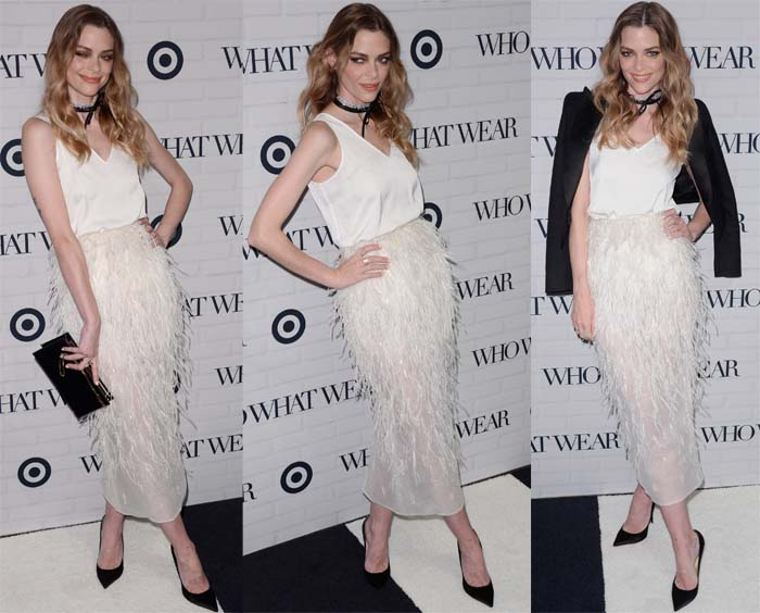 Jaime King paired an ankle-length Steven Kahlil feather skirt with a silk white top