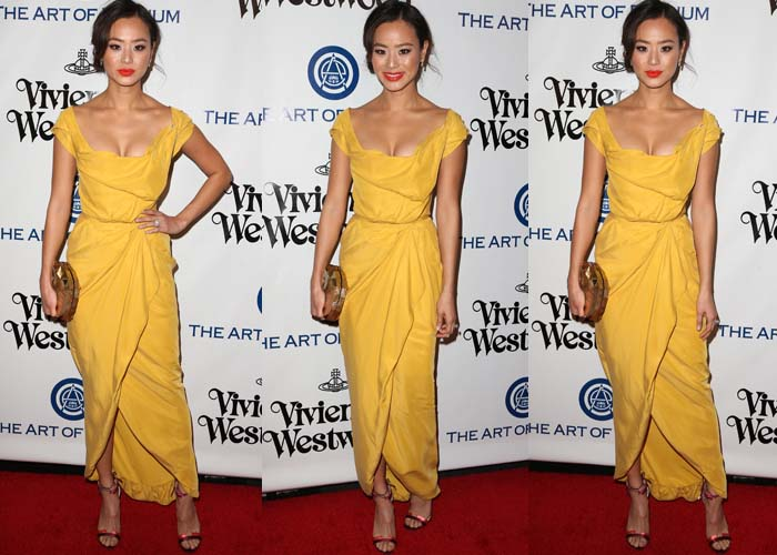 Jamie Chung wears a sunny yellow Vivienne Westwood dress on the red carpet