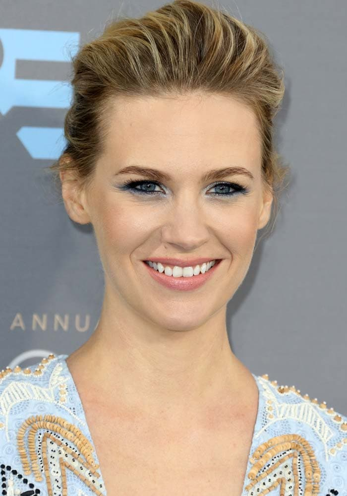 January Jones wears her hair back at the 21st Annual Critics' Choice Awards
