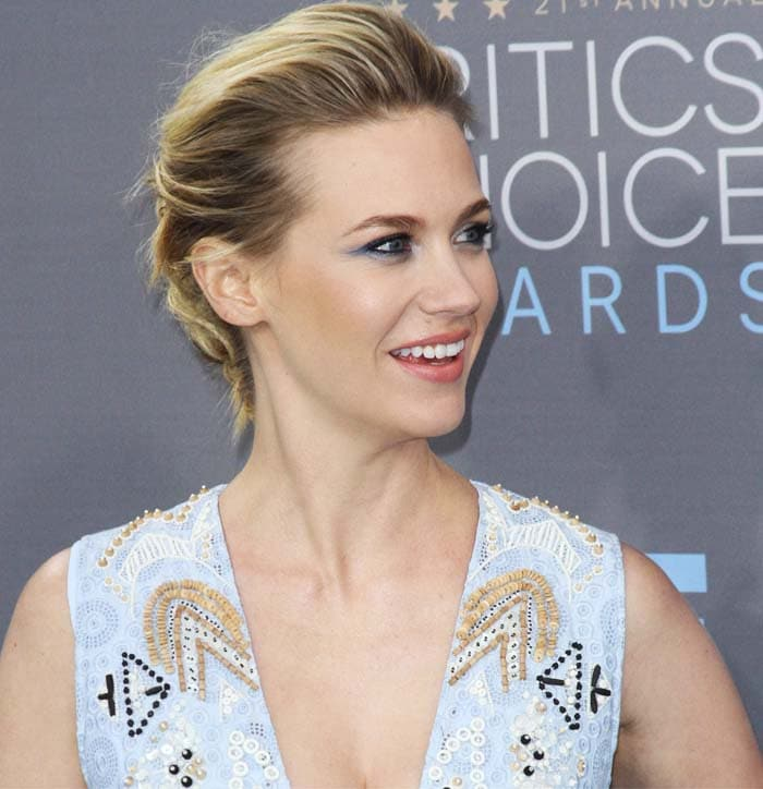 January Jones shows off the detail on her embellished Altuzarra dress