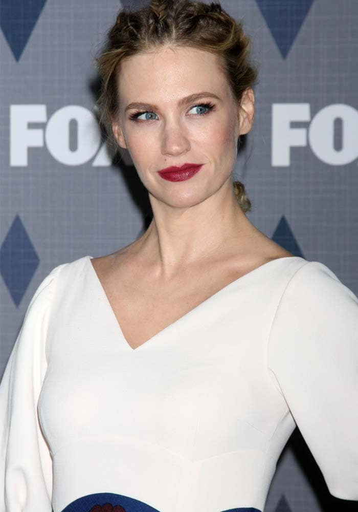 January Jones with her hair up in a braids-cornrows hybrid at the FOX Winter TCA 2016 All-Star Party